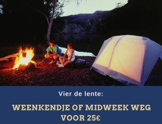 Vier de lente: een weenkendje weg voor 25€ (kampeerplaats) of 75€ (vakantiehuis) bij Roompot!